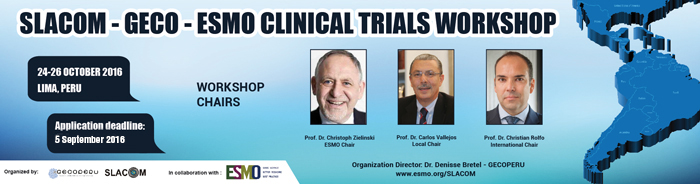 SLACOM-GECO-ESMO Clinical Trials Workshop banner