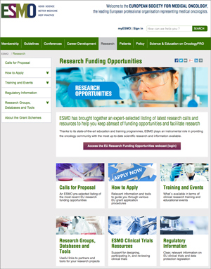 Research section on ESMO website