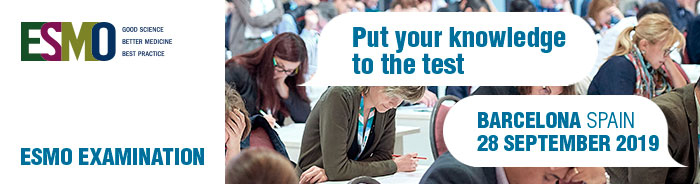 ESMO examination banner - Knowledge to the Test