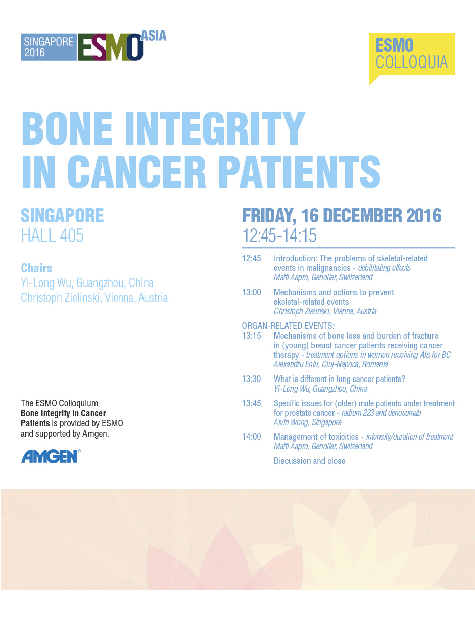 ESMO Asia 2016 Colloquia Bone Integrity in Cancer Patients